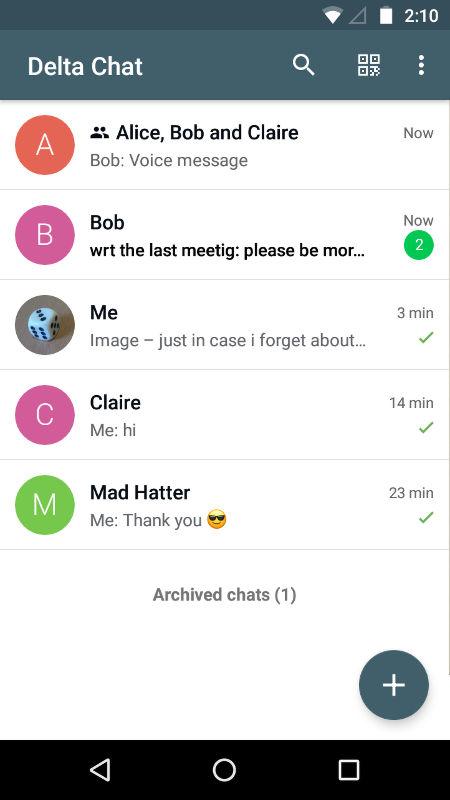 DeltaChat экран 2